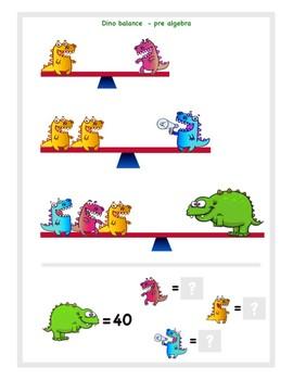 Dinosaur pre-algebra balance problem