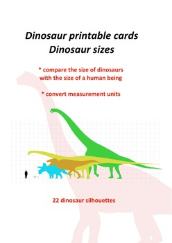 Dinosaur printable cards: Dinosaur sizes