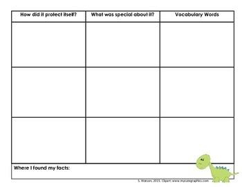 Dinosaur research graphic organizer
