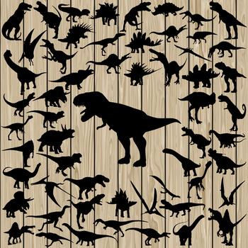 57 Dinosaur silhouette Vector, SVG, DXF, PNG, EPS, Jurassic, T-Rex, Animal.