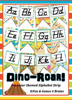 Dinosaur themed D'nealian print Alphabet Strip Banner