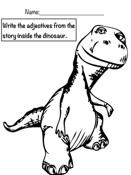 Dinosaur themed phrasal template (mad libs). Grammar and story comprehension