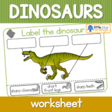 Dinosaur worksheets - label the dinosaur