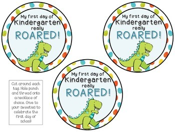 Dinosaur Themed Brag Tags {1st Day Back to School} FREEBIE!!! Necklace