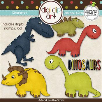 Dinosaurs 1-  Digi Clip Art/Digital Stamps - CU Clip Art