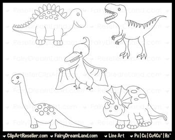 Dinosaurs 1 LineArt - Black & White
