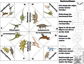 Dinosaurs Activity/ Foldable (No Prep Scoot Unit Review Game/ Quiz)