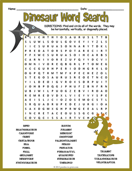 All About Dinosaurs Word Search