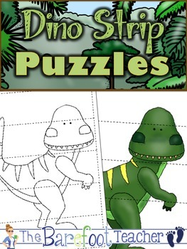 Dinosaurs 5-Piece Strip Puzzles {FREEBIE}