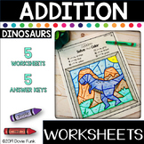 Addition Worksheets Math Color by Number Dinosaurs