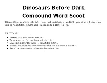 Dinosaurs Before Dark (Magic Tree House #1) compound word Scoot