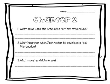 Dinosaurs Before Dark/ Magic Tree House Comprehension Questions