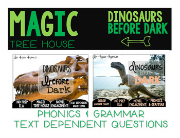 Dinosaurs Before Dark NO PREP and Text Dependent Questions BUNDLE