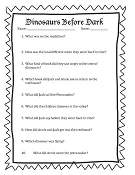 Dinosaurs Before Dark Questions