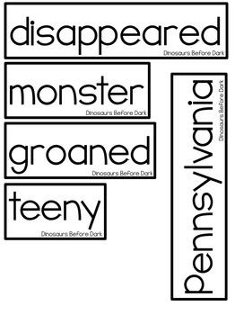 Dinosaurs Before Dark Vocabulary Words