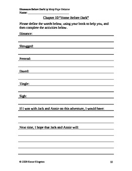 Dinosaurs Before Dark Worksheets (Magic Tree House #1)