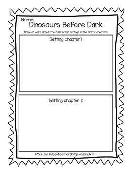 Dinosaurs Before Dark reading comprehension packet