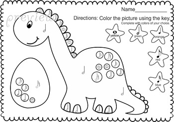 Dinosaurs: Color by Music sheets.