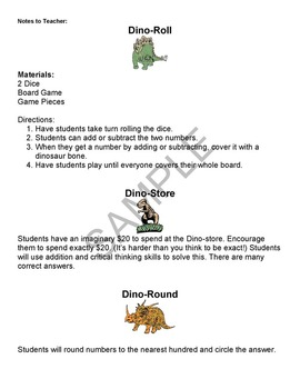 """Dinosaurs"" Common Core Aligned Math and Literacy Unit - ACTIVboard EDITION"