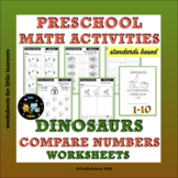 Dinosaurs Compare Numbers 1-10 Worksheets