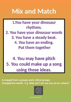 Dinosaurs Composing song and rhythm with syllables - some audio included