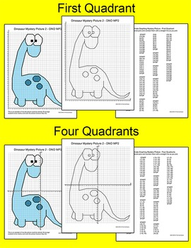 Dinosaurs Coordinate Graphing Ordered Pairs Mystery Pictures
