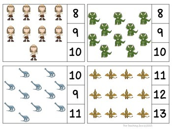 Dinosaurs Count & Clip 1- 30 Task Cards