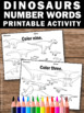 Dinosaur Theme Classroom, Number Words Worksheets, Kindergarten Math Coloring