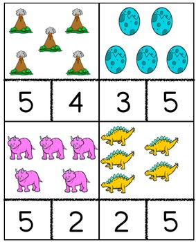 Dinosaurs Counting Cards