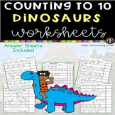 Numbers to 10 Dinosaurs Counting Math Worksheets