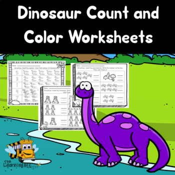 Dinosaurs Counting Worksheets: Count and Color