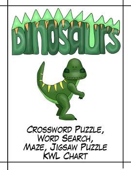 Dinosaurs - Crossword puzzle, Word Search, Maze & Jigsaw Puzzle! NO PREP!