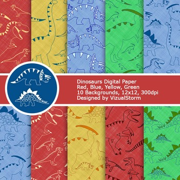 Dinosaurs Digital Paper, Blue, Green, Red, Yellow Printable Backgrounds