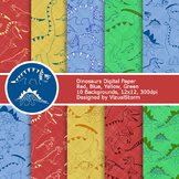 Dinosaurs Digital Paper, Blue, Green, Red, Yellow Printabl