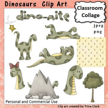 Dinosaurs Dino Doodle Clip Art - Color - personal & commercial use