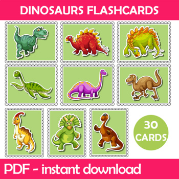 Dinosaurs Flash Cards Instant Download PDF; Preschool, Kin