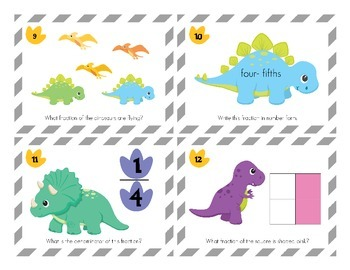 Dinosaurs Fractions Task Cards