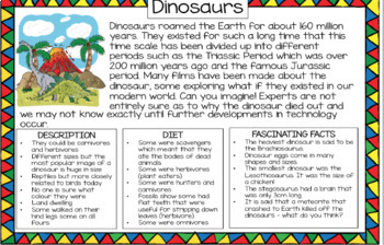 Dinosaurs - Information text