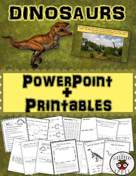 Dinosaurs Informational PowerPoint Editable + Activities (Math + Literacy)