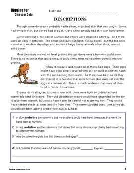 DINOSAURS  Informational and Close Reading
