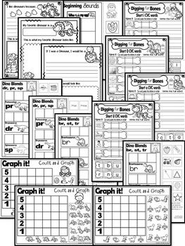 Dinosaurs Literacy, Math and Science NO PREP PRINTABLES (CCSS)