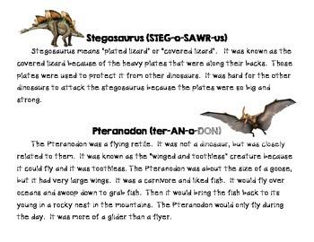 Dinosaurs: Main Idea and Summarizing