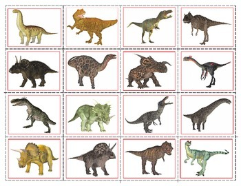 Realistic Dinosaurs Mini Matching And Memory Game Tpt