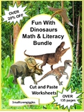 Dinosaurs Math and Literacy BUNDLE Cut and Paste Worksheets Special Education