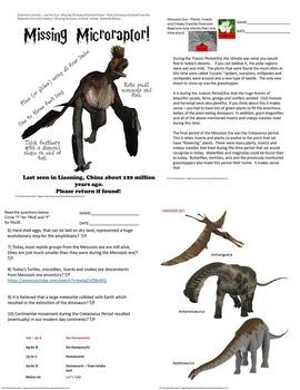 Dinosaurs Mesozoic Era Earth Science Quiz SPED/Autism/ESL