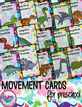 Dinosaurs Movement Cards for Preschool and Brain Break