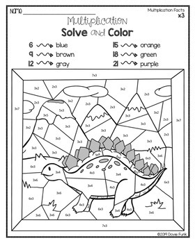 Multiplication Coloring Worksheets Solve and Color ...
