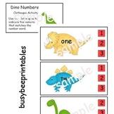 Dinosaurs Numbers Clothespin Activities - Preschool Kindergarten