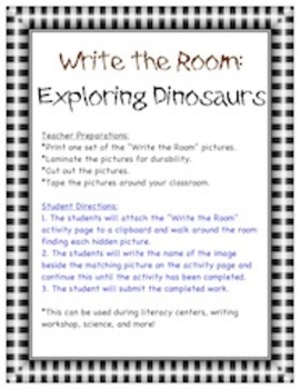 Dinosaurs Pack - Write the Room Activity