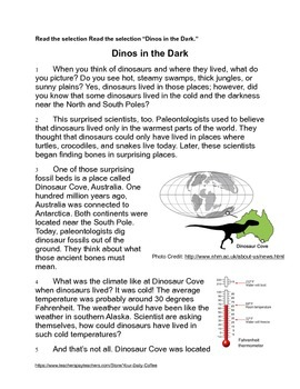 Dinosaur Mysteries~Paired Texts and 3 Writing Prompts~ No Prep~Back to School